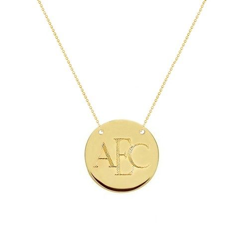 Pradman Collections - Gold Monogram Necklace - Personalized Initial Disc 1 Inch Two Hole Times, $89.99 (http://www.pradman.com/gold-monogram-necklace-personalized-initial-disc-1-inch-two-hole-times/)