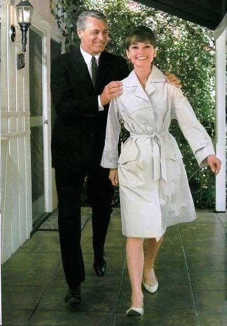 Cary Grant & Audrey Hepburn during filming of Charade 1963