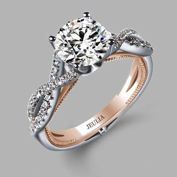 Twist Style Rhodium Plating Brilliant Cut Engagement Ring Bridal SetsWedding