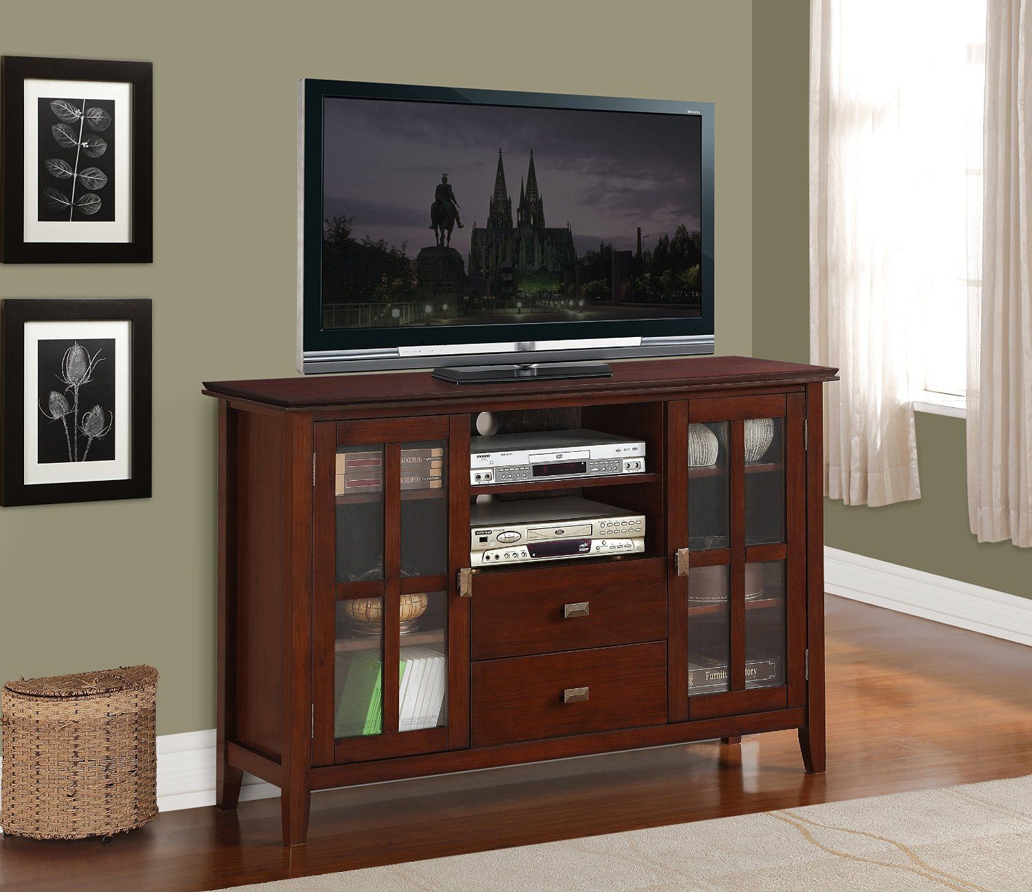 Simpli Home AXCHOL005 Artisan Collection 54 Inch Width By 36 Inch Height Tv  Stand, Medium Auburn Brown, 1 Pack