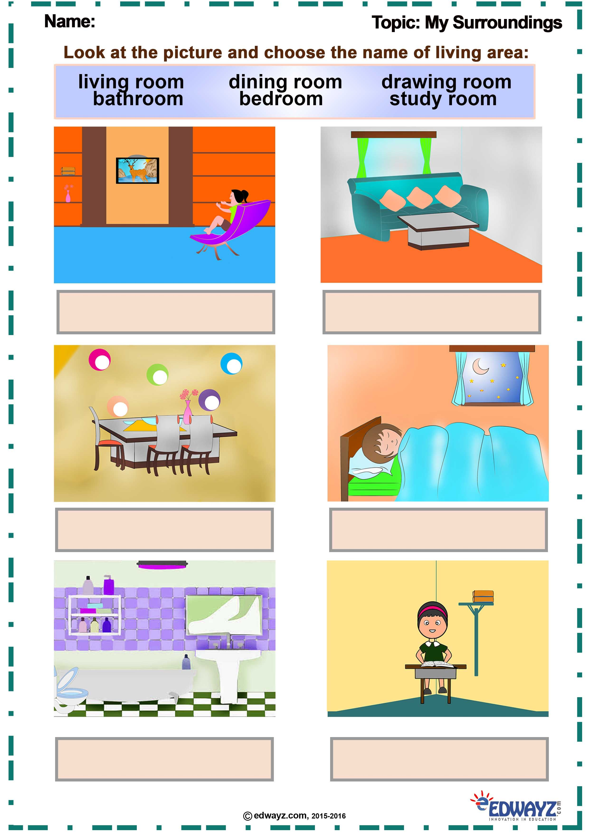 Worksheets_Class-1_My Surroundings   Worksheets for class 1 [ 3508 x 2480 Pixel ]
