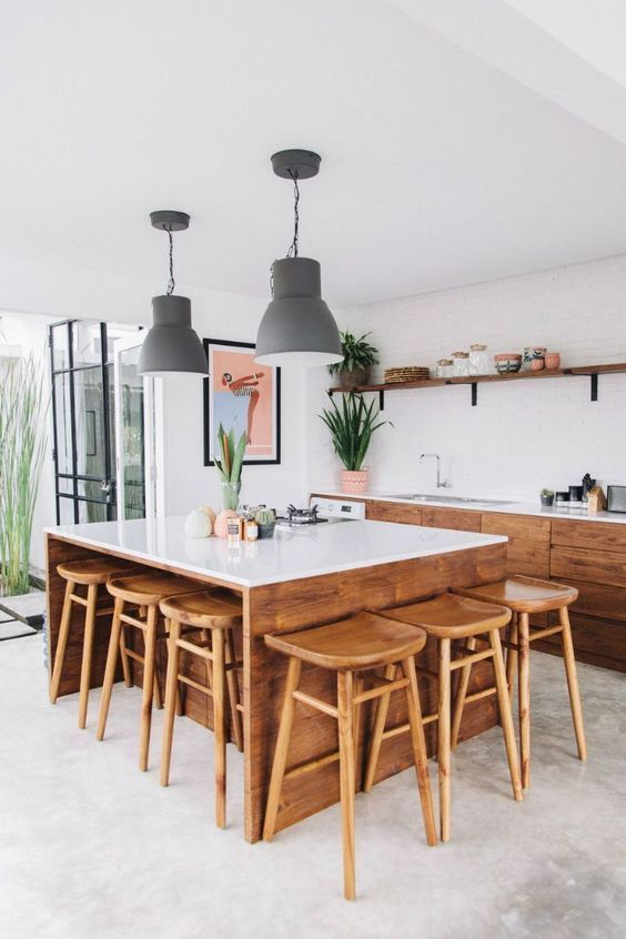 Best A Modern Tropical Kitchen With Stained Wooden Cabinets And 400 x 300