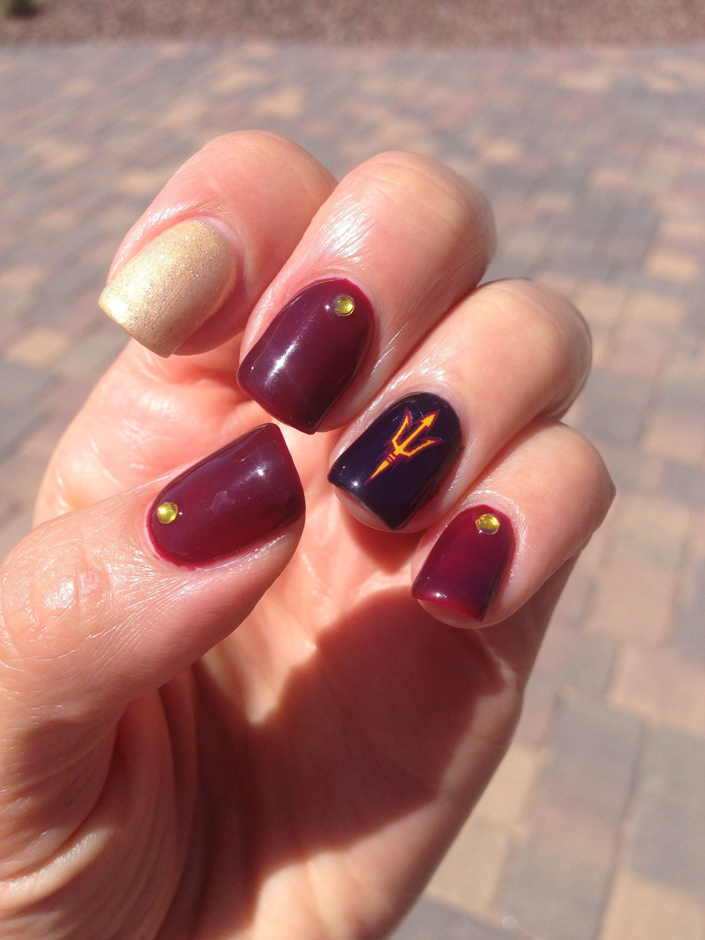 Nails for the ASU game! Gelish polish and mini Arizona State ...