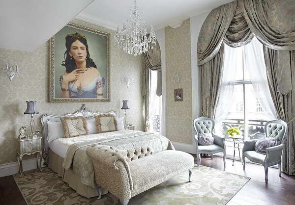 Beautiful Choose Ivory Or White, Gold Accents, Focus On The Romantic Bed. Parisian  Style Bedroom With Luxury Seats