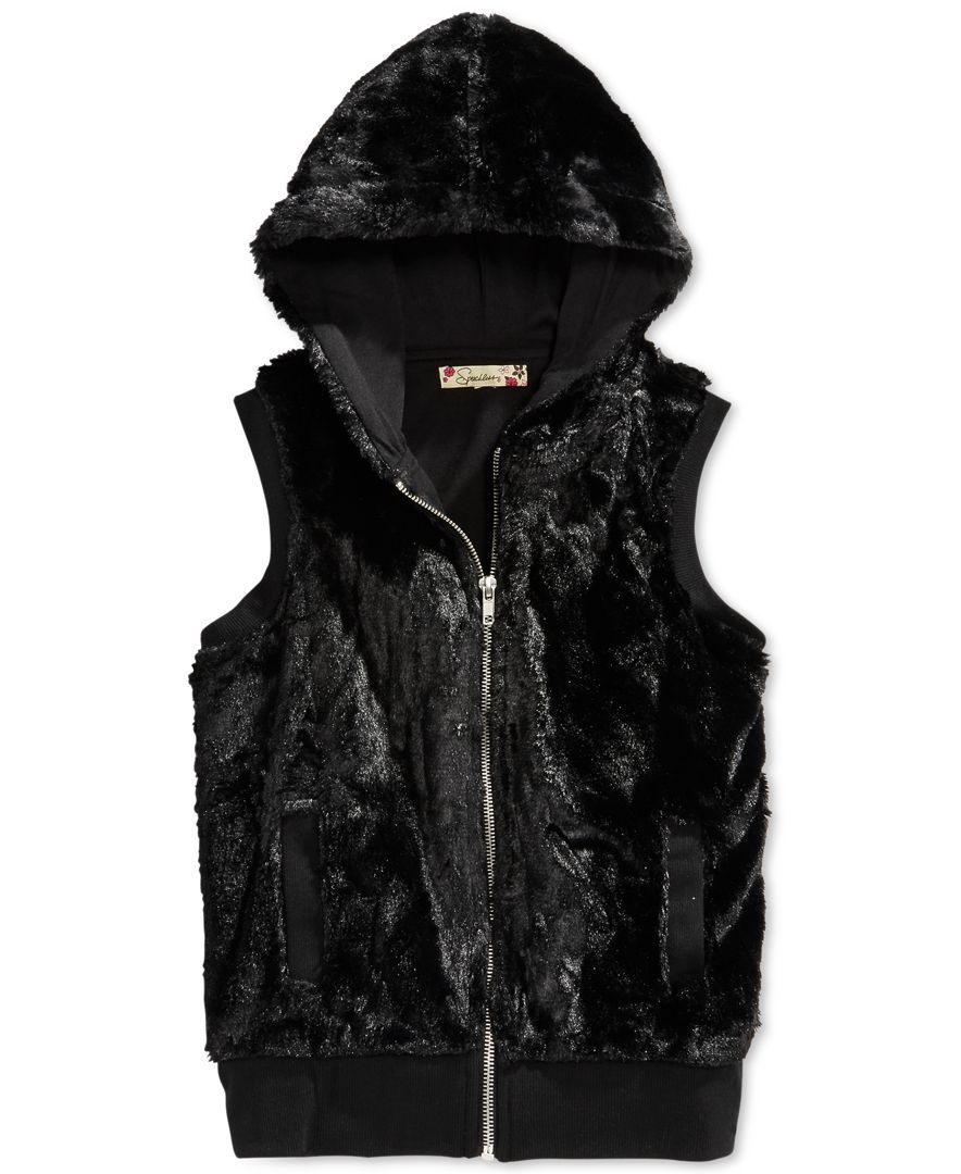 Speechless Girls' Faux Fur Hooded Vest