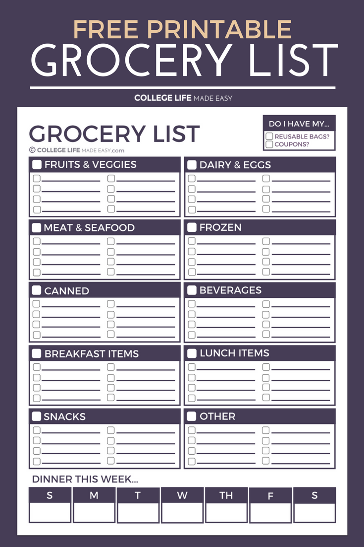 free printable grocery list! | cute & simple grocery list | grocery