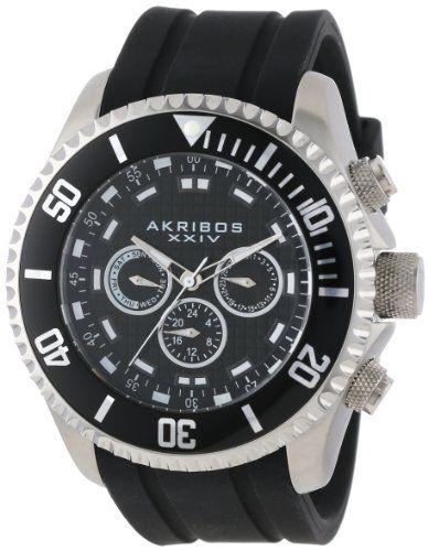 Akribos XXIV Men's AK597SS Grandiose Swiss Quartz Multi-Function Silicone Strap Watch