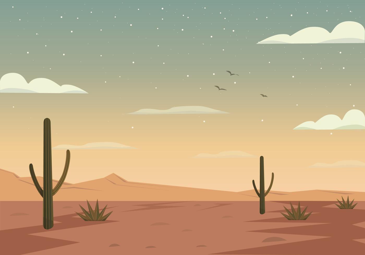 Vector Desert Landscape Illustration Landscape Illustration Desert Painting Desert Art