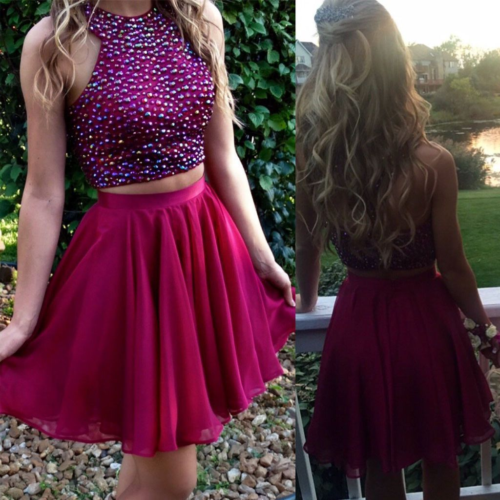 Short two pieces beaded halter lovely freshman charming homecoming