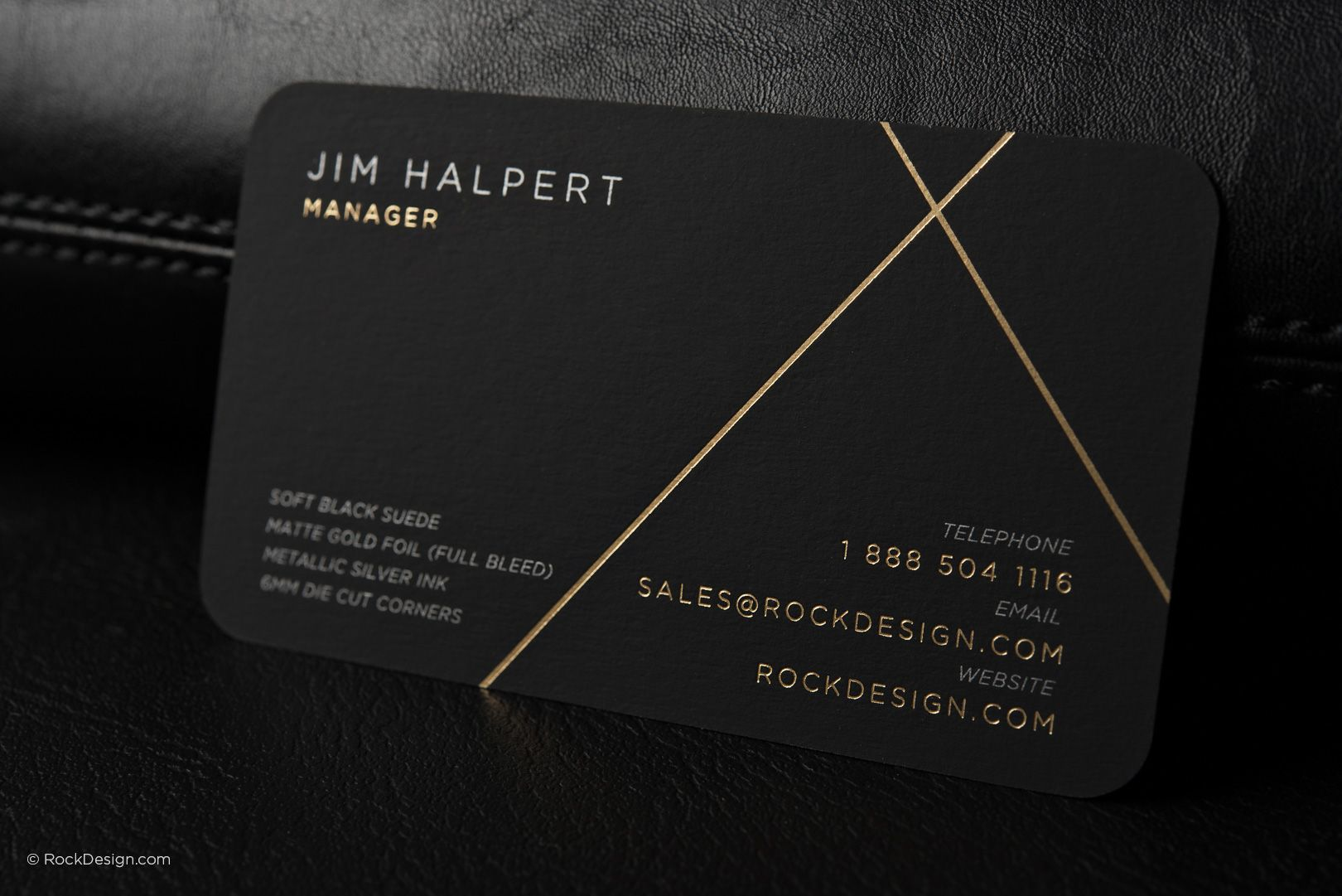 Luxury Modern Black Suede Business Card With Metallic Ink And Gold Foil Rock Design R Printing Business Cards Business Cards Creative Luxury Business Cards