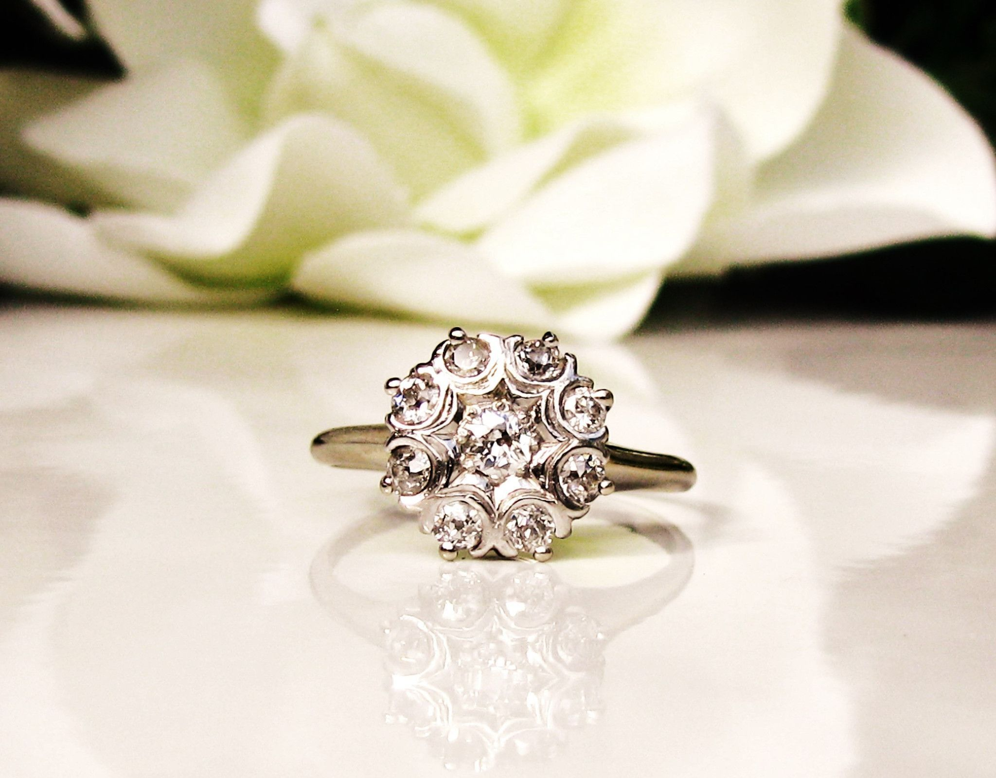 ring gold daisy flower fullxfull dress white cluster engagement vintage listing style il diamond