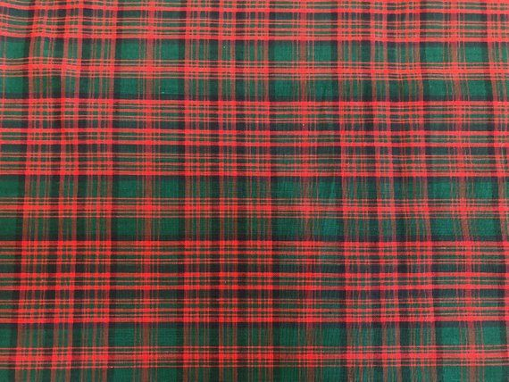 Vintage Fabric, Red and Green Plaid, Holiday Fabric, Cotton Fabric