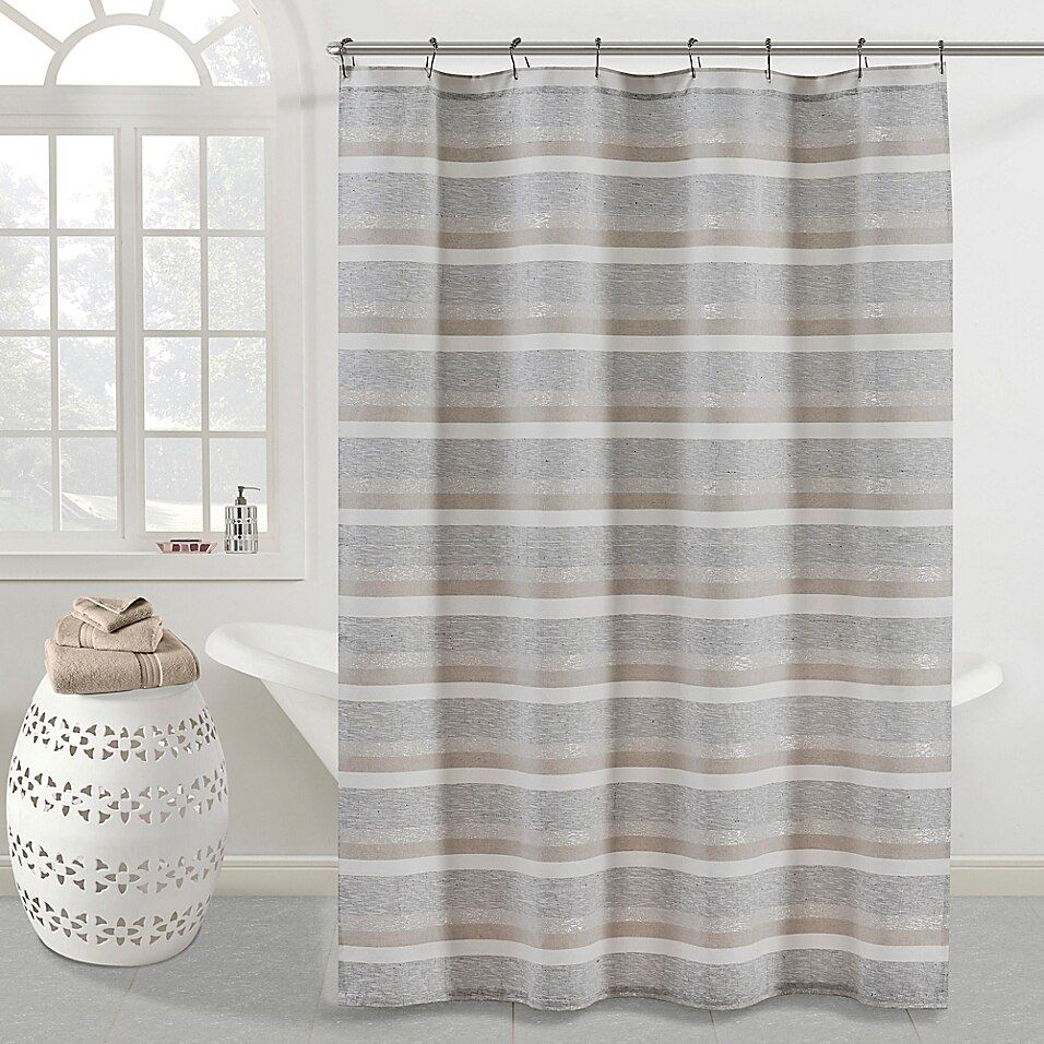 Kas Room Zerena Striped 54 X 78 Shower Curtain In Silver Silver