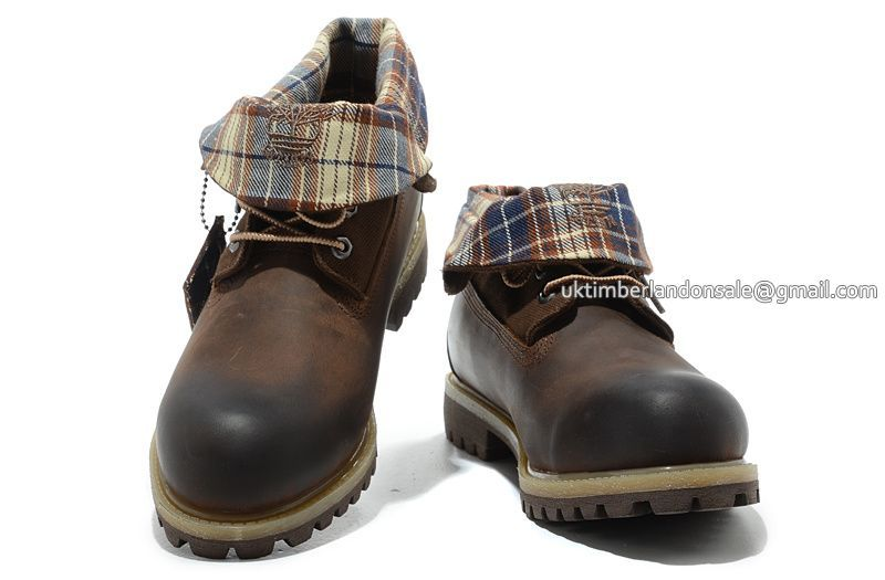 Timberland Roll Top Plaid Brush-Off Leather Boots Brown Black  85.00 ... b10ba0c8b1c