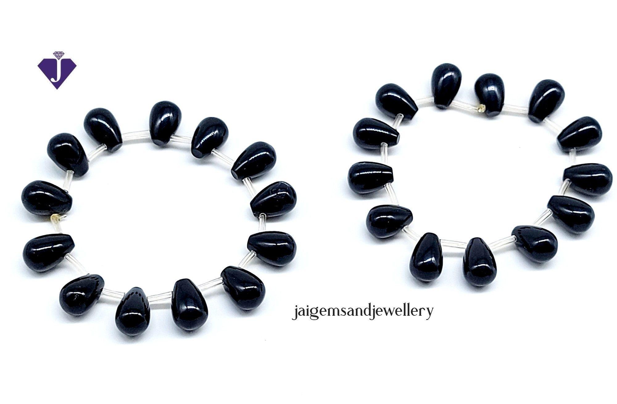 Stunning Black Onyx Bracelet With Drop Shape Beads,Beautiful Black Jewellery, Free Shipping.