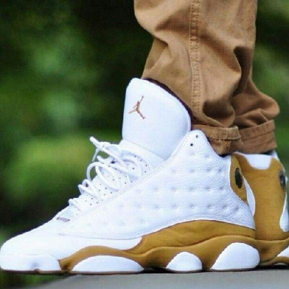 Jordans Gold and whiteAir Jordan Retro 13 Jordan Shoes Sneakers