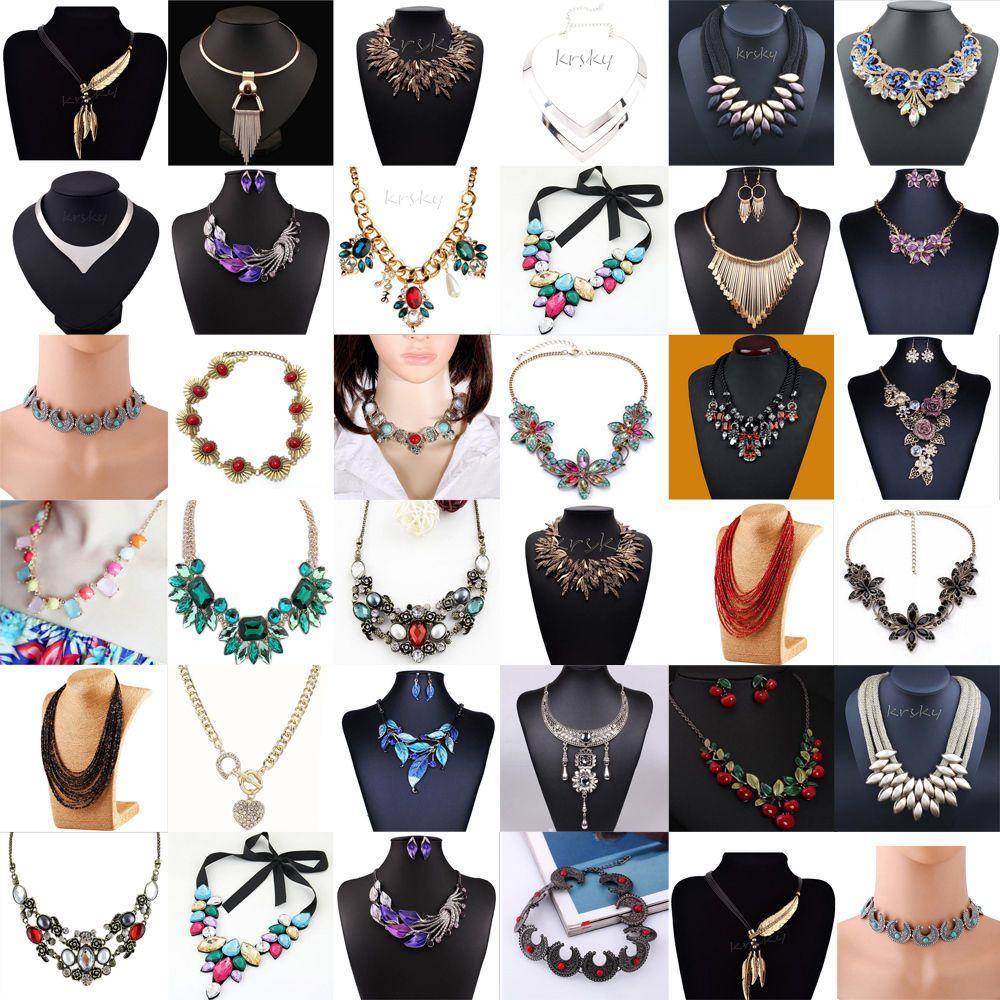 Charm Crystal Choker Chunky Bib Statement Necklace Fashion Jewelry Pendant Chain