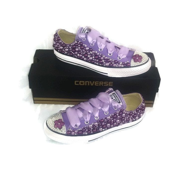 7f0372c649c Purple Pearl and Rhinestone Bling Converse. Lo Top Purple Converse Shoes.  Bling Shoes. Rhinestone Shoes. Adult Bling Shoes. Custom Converse by  IDoSparkle on ...