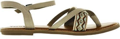 Toms Women's Lexie Canvas Desert Taupe Embroidery Ankle-High Canvas Sandal - 10M