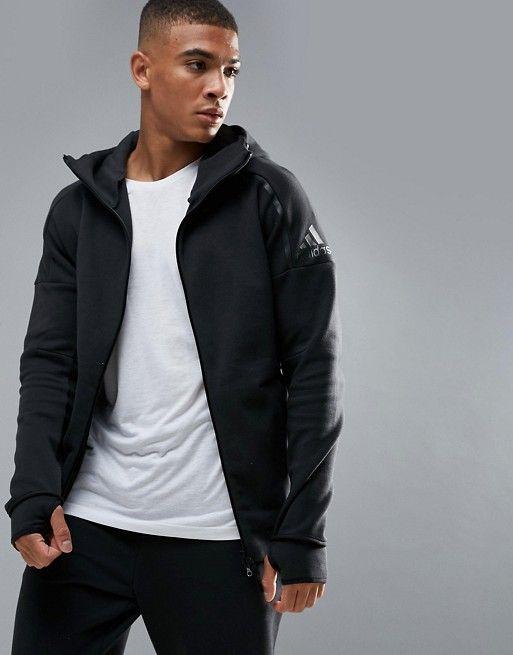 ea3a78760ca1d Adidas Athletics ZNE 2 hoodie in black bq6925
