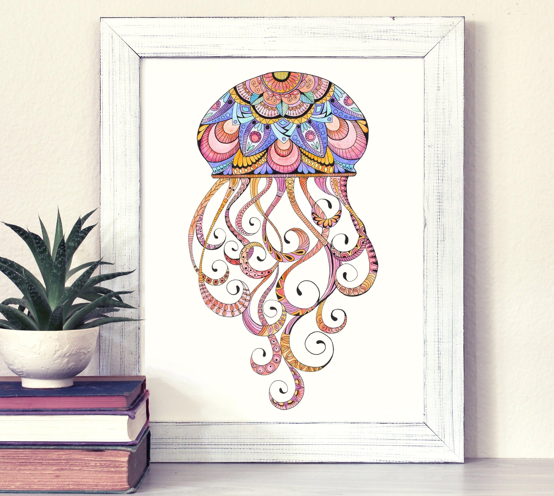 Jellyfish Art Jellyfish Wall Decor Orange And Pink Art Etsy In 2020 Pink Art Jellyfish Art Ocean Art