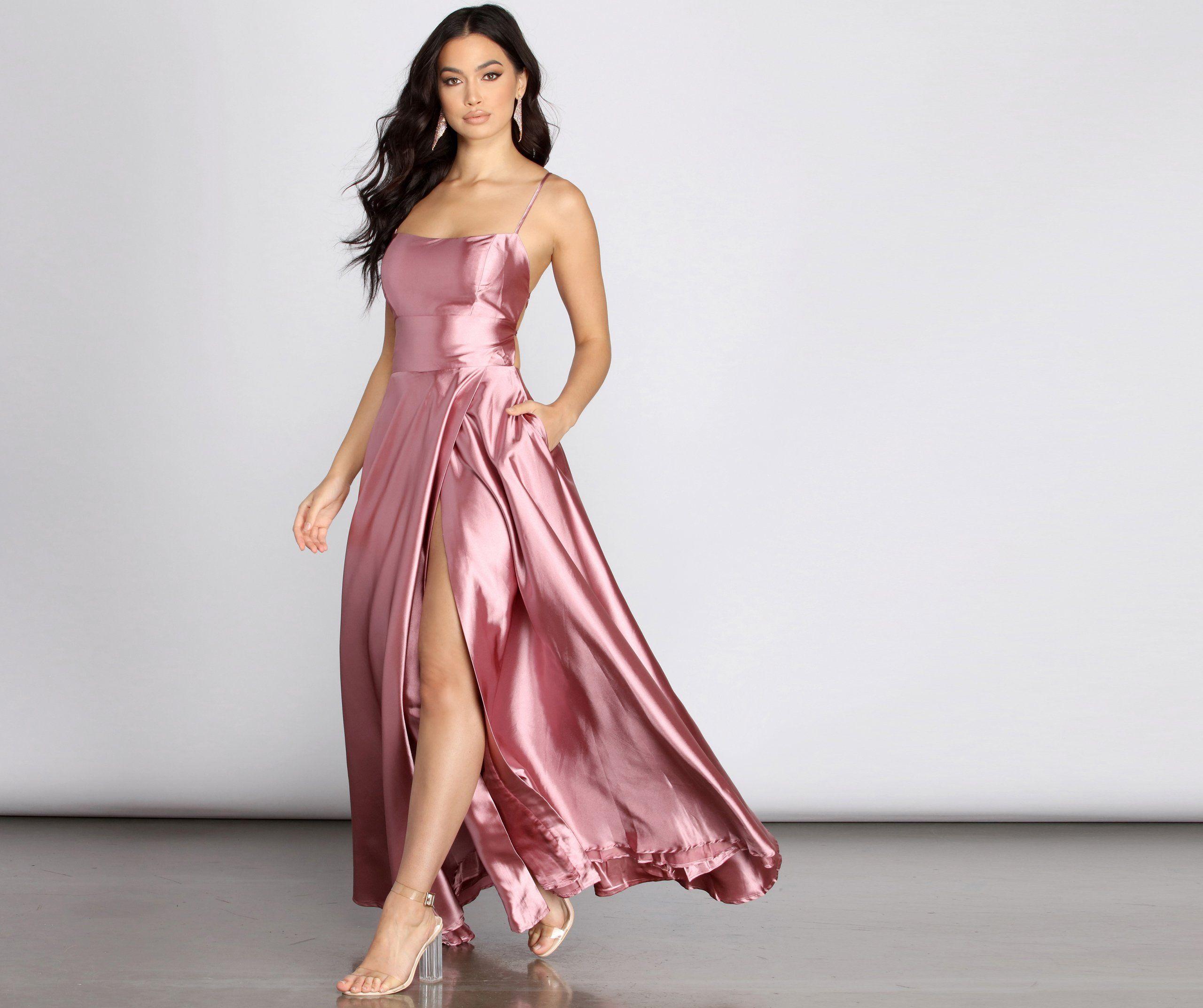 Anne Formal Lattice Satin Dress Dresses Satin Dresses Windsor Dresses Prom [ 2145 x 2560 Pixel ]