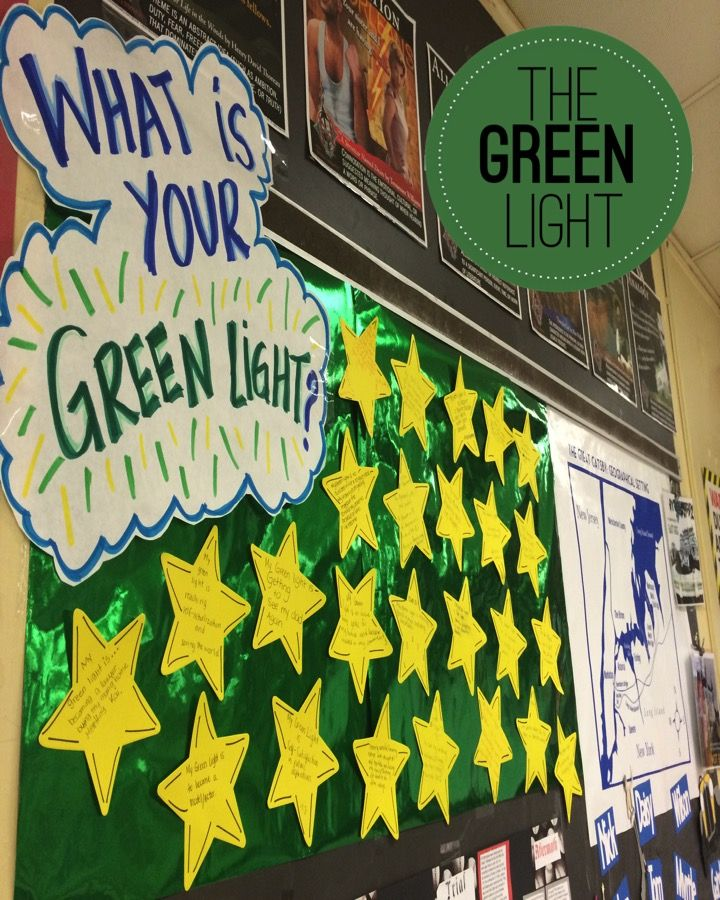Have students make a personal connection to the symbolism of Gatsby's green light by asking them what their green light is and displaying in the classroom.