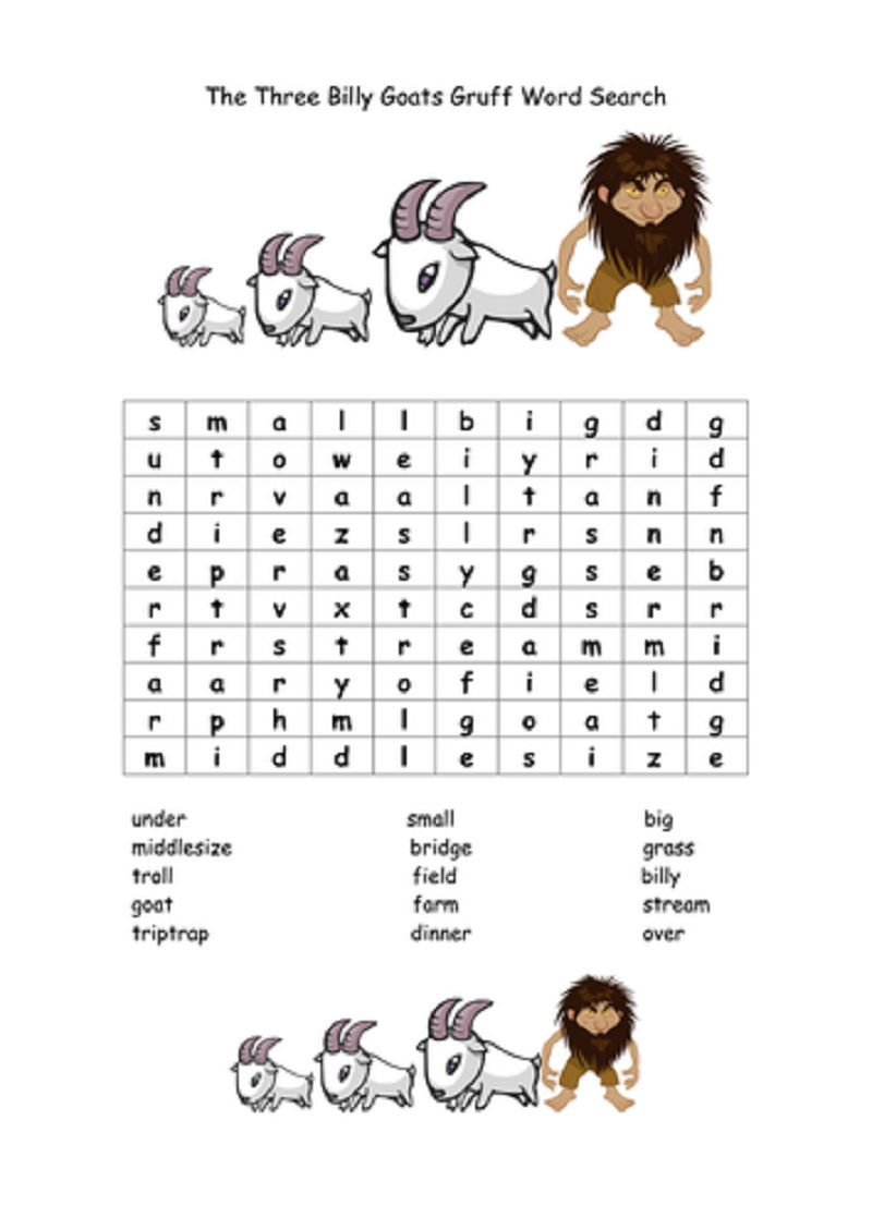 Three Billy Goats Gruff Worksheets Word Search. Also see