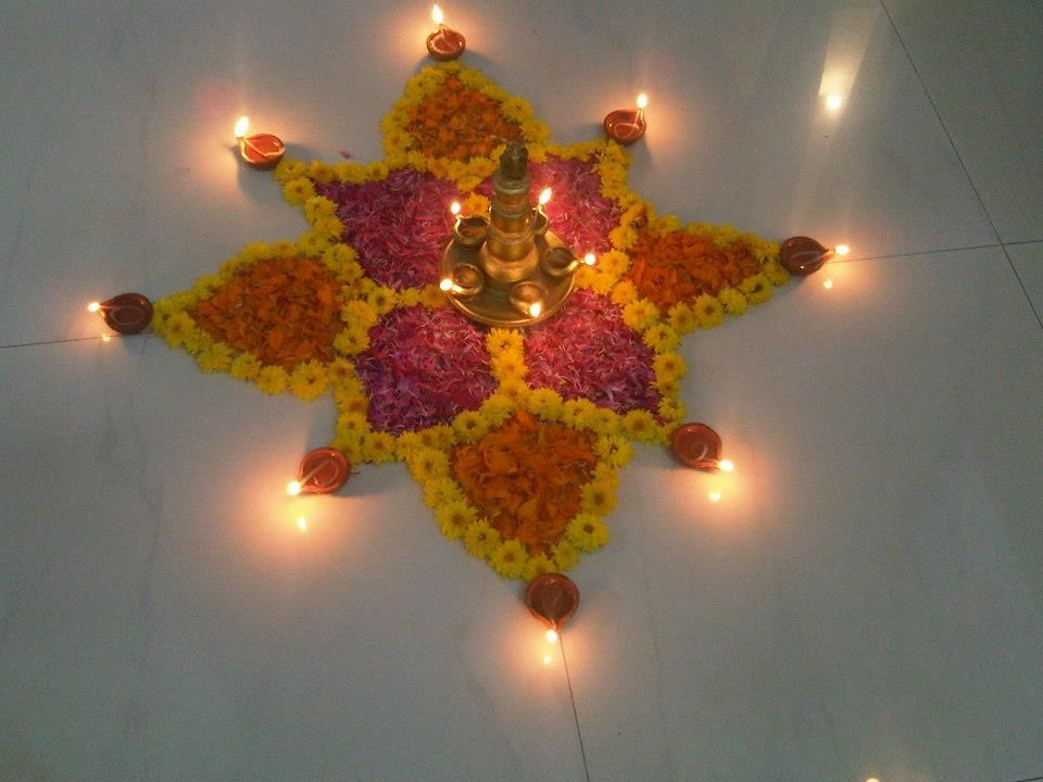 Diwali diya pooja thali rangoli decoration ideas for Home decorations in diwali