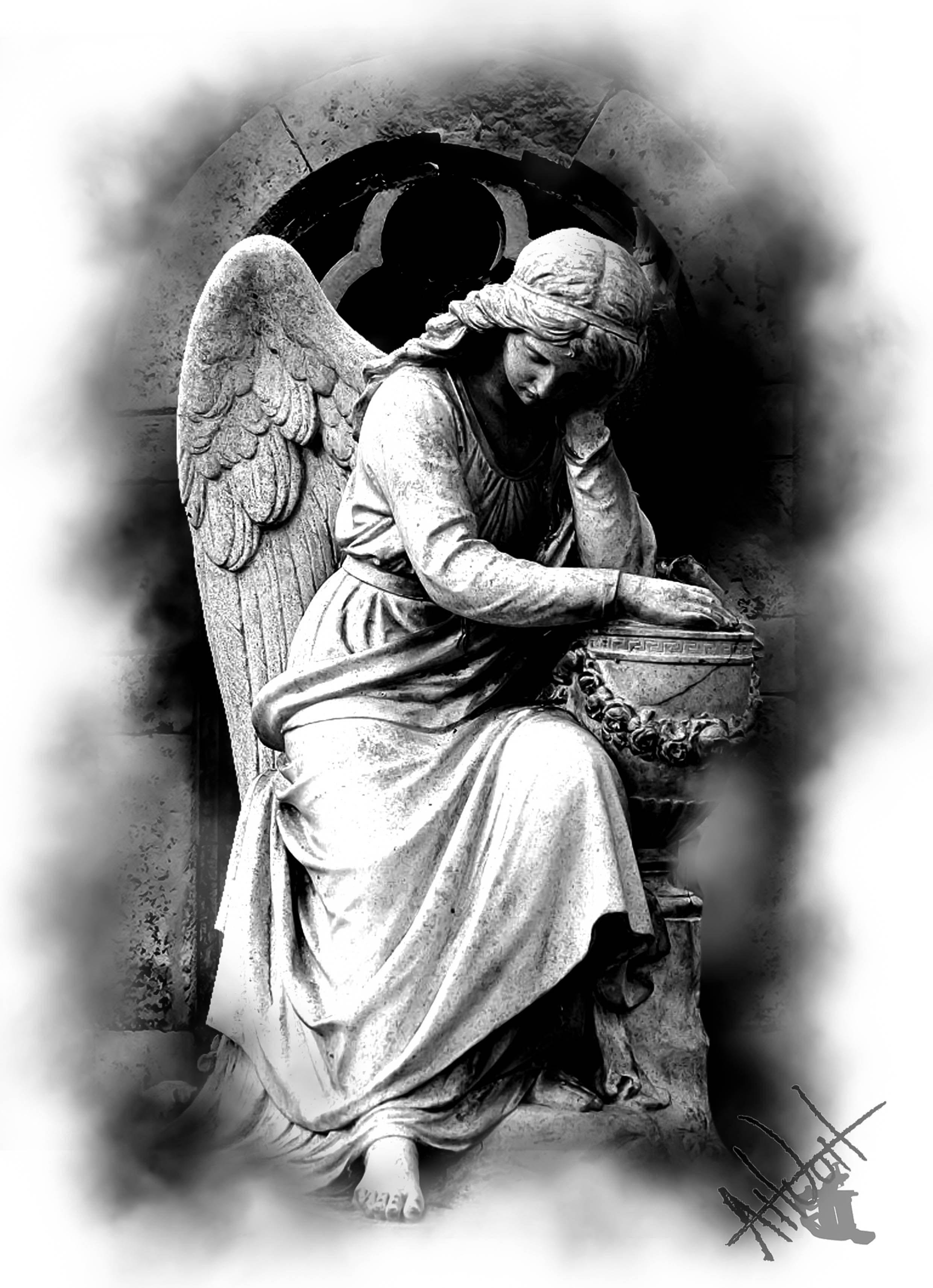 angel statue tattoo design | tattoo design | Statue tattoo ...