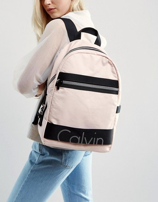 eb99502f27 Calvin Klein Exclusive Re-Issue Coated Jersey Backpack Coated jersey outer  Grab handle Adjustable straps
