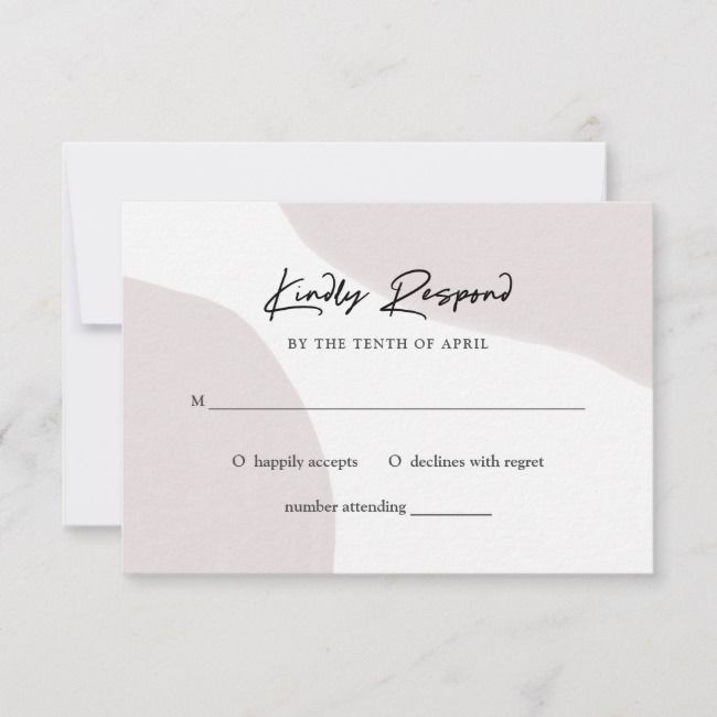 Chic Abstract Neutral Modern Watercolor Wedding Rsvp Card
