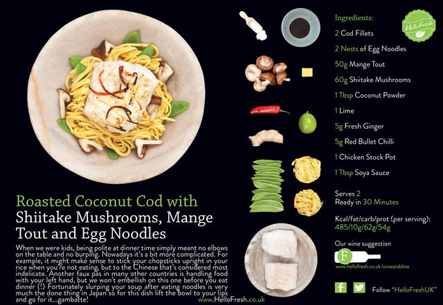 Review hello fresh ingredients for three meals with recipe cards roasted coconut cod with shiitake mushrooms mange tout and egg noodles forumfinder Gallery