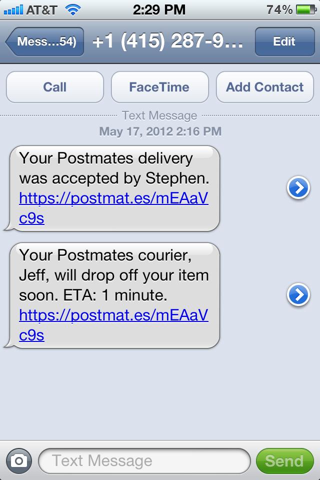 Postmates Notification With Unique Url Text Messages Facetime Iphone Apps