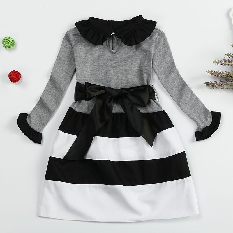 4a4027ed5 Autumn Winter Stripe Wavy Dress Bow For Girl Long Sleeve Casual Kids ...