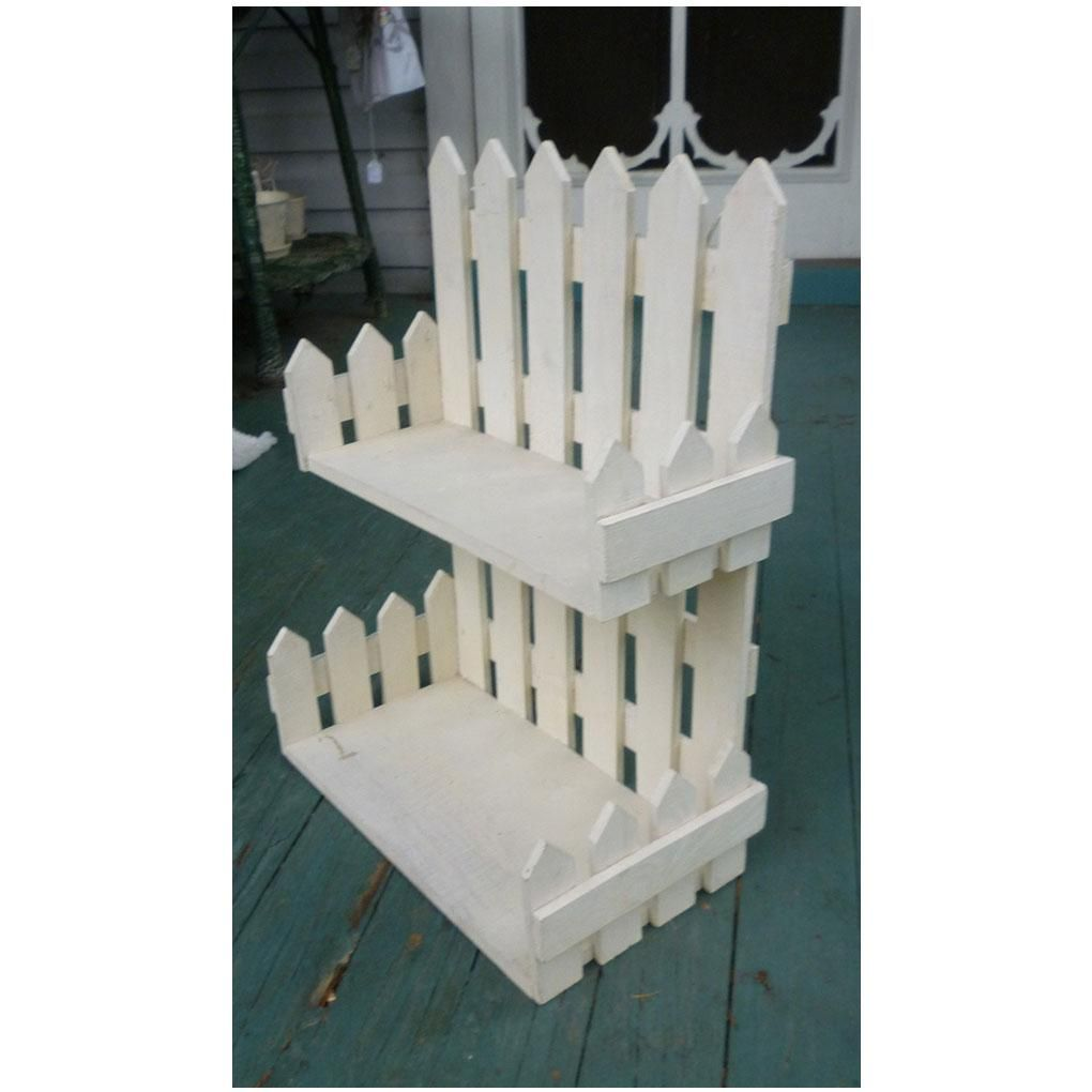 Fence Display Ideas: Folk Art White Picket Fence Wall Shelf