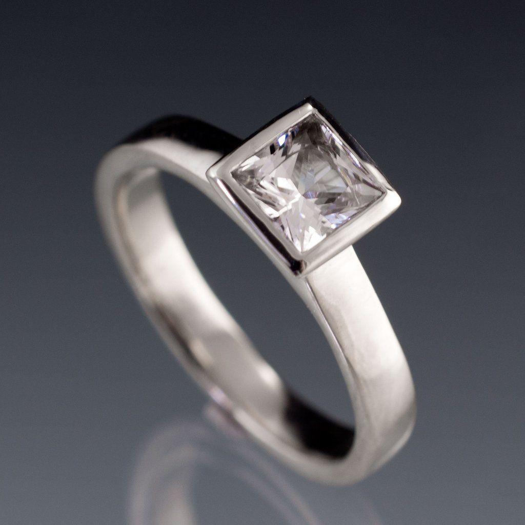 White sapphire engagement ring princess cut bezel solitaire