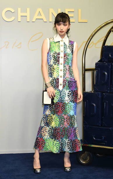 Model Emi Suzuki attends the CHANEL Metiers D'art Collection Paris Cosmopolite show at the Tsunamachi Mitsui Club on May 31 2017 in Tokyo Japan