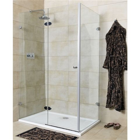 Large rectangular Mirabella glass shower enclosure with frameless design. Measurements: 1200x1100mm. Choose this style for a classy open fee...