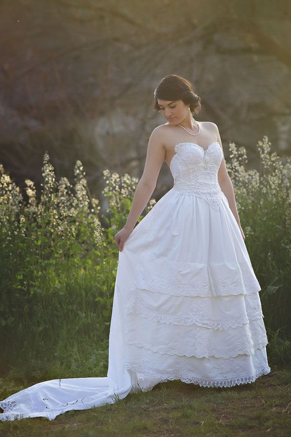 Vintage Lace Corset Wedding Gown With Train Woodland Dream Wedding