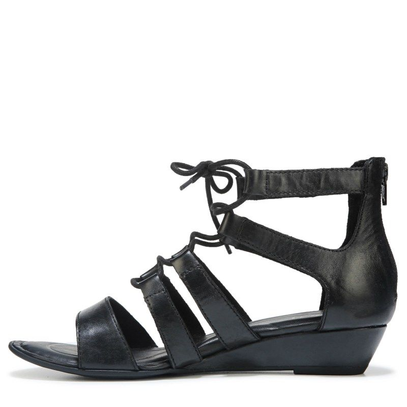 Born Women's Dakar Ghillie Wedge Sandals (Black) - 10.0 M
