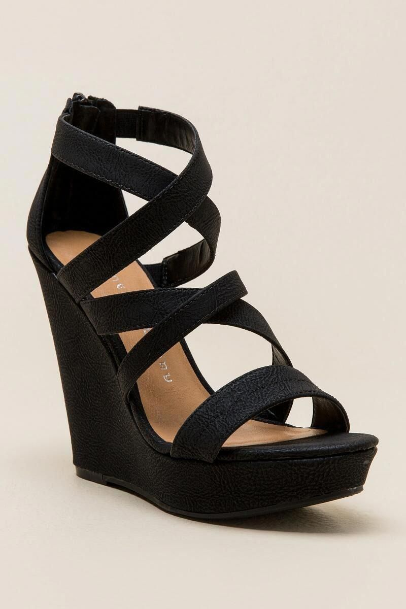 Chinese Laundry Monami Strappy Wedge Promshoes Black Strappy