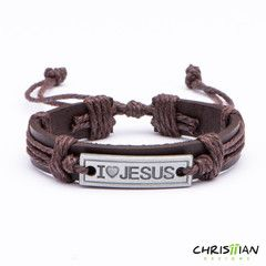 I Love Jesus Leather Bracelet - Christian Designs