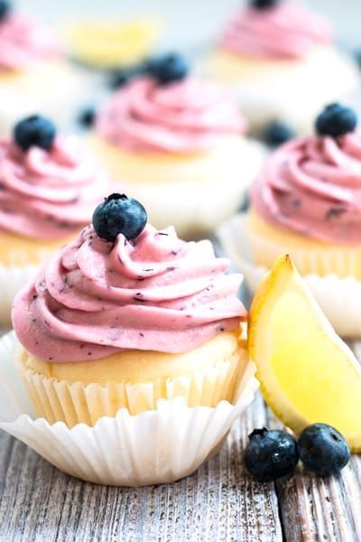 Gluten Free Lemon Cupcakes with Blueberry Frosting