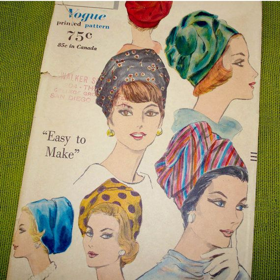 1960 Vintage Vogue Sewing Pattern Turban Hat by SelvedgeShop, $22.00 ...