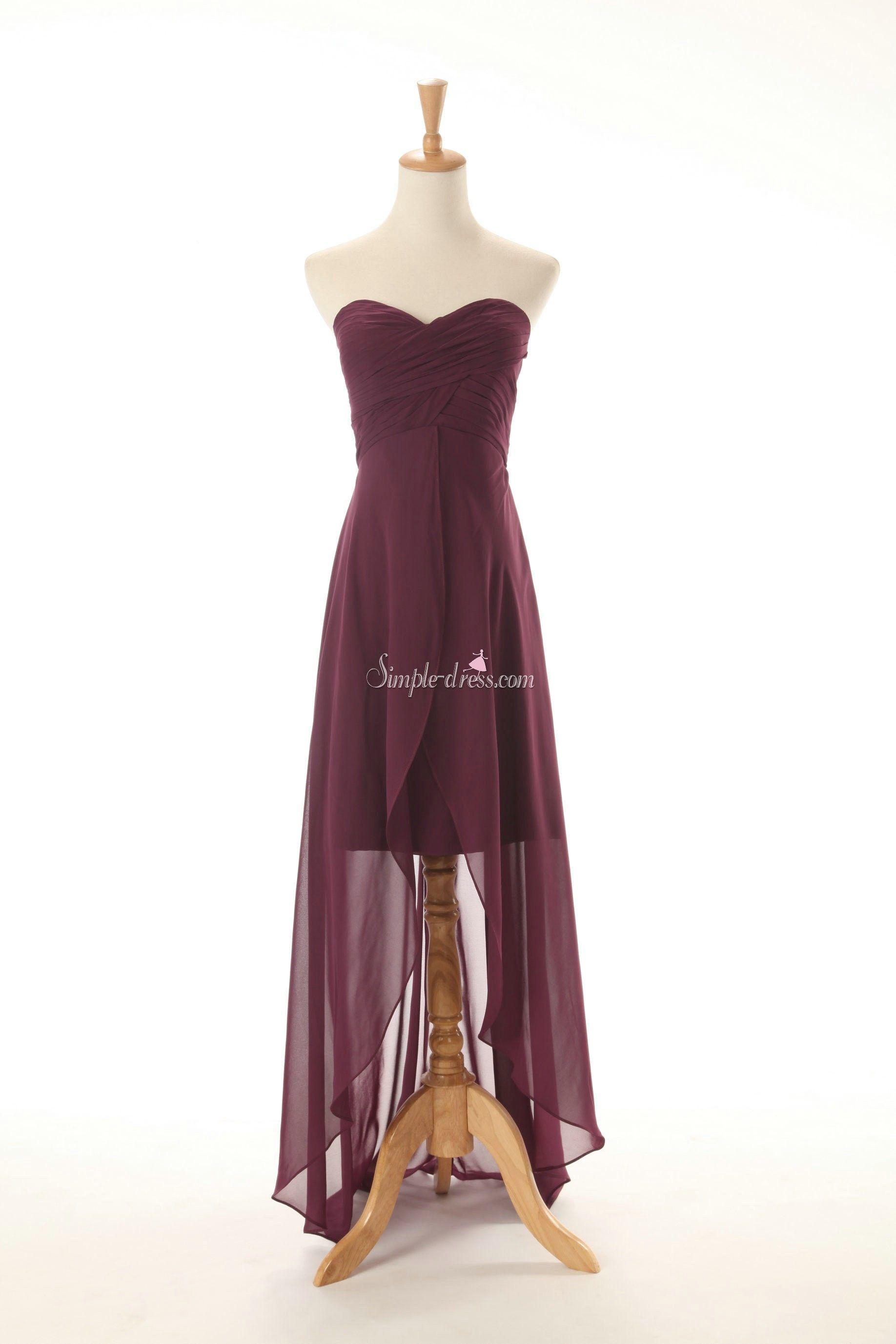 Buy simpledress princess strapless long chiffon bridesmaid dresses