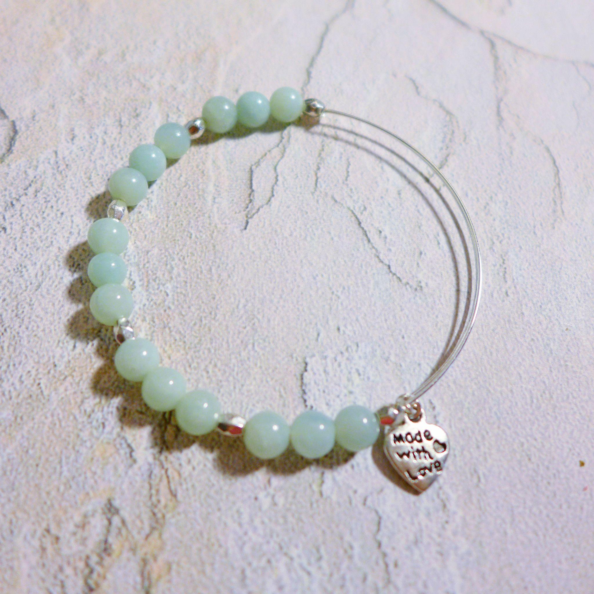 Amazonite bead expandable wire bracelet $18 julemijewelry.etsy.com
