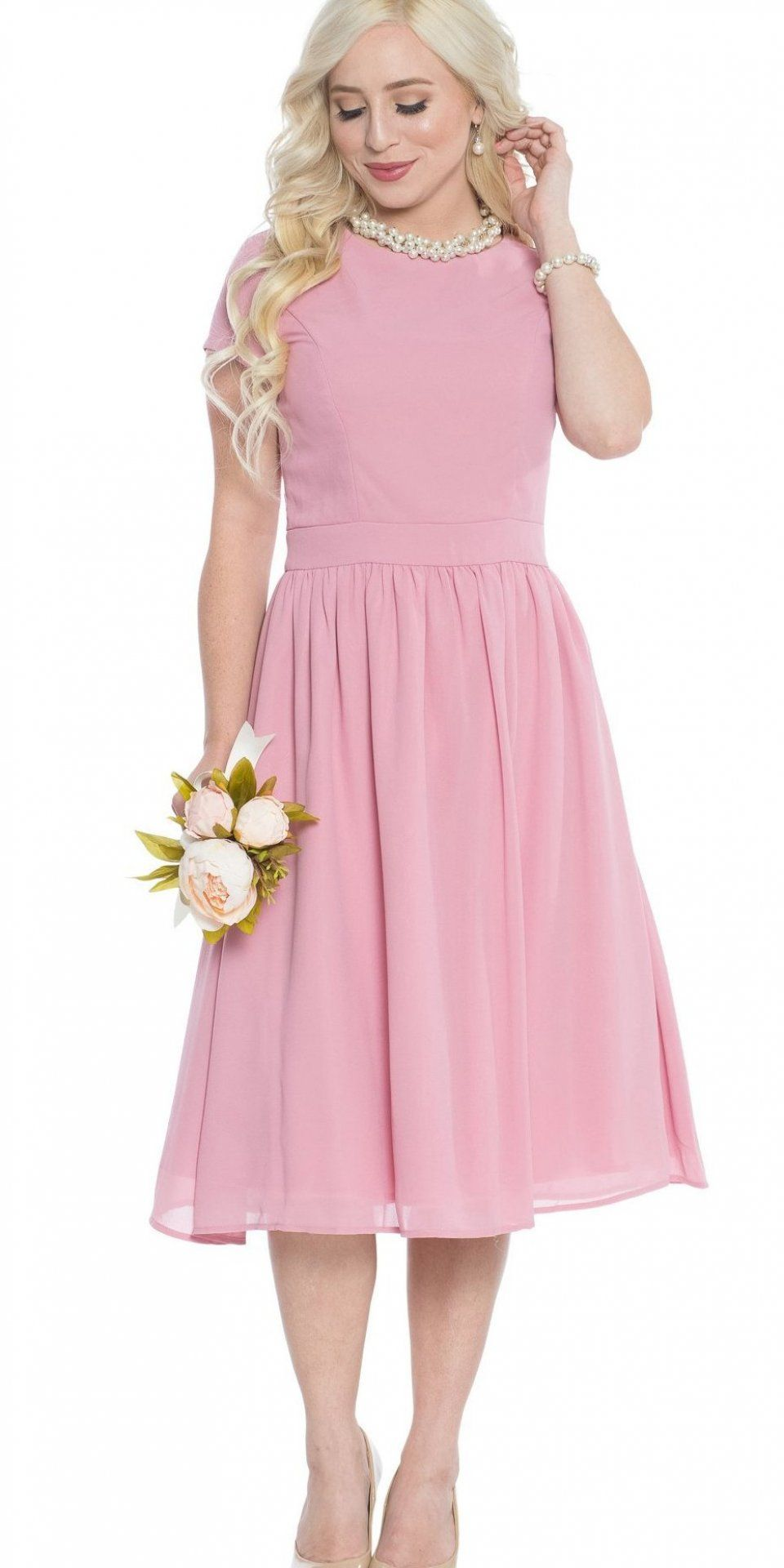 Jen lucy semiformal modest bridesmaid dress in bridal