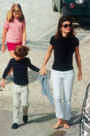 Jackie Kennedy, with her children John Jr. and Caroline the day before her wedding to Aristole Onassis (Oct. 19, 1968) on Skorpios Island ~ Greece