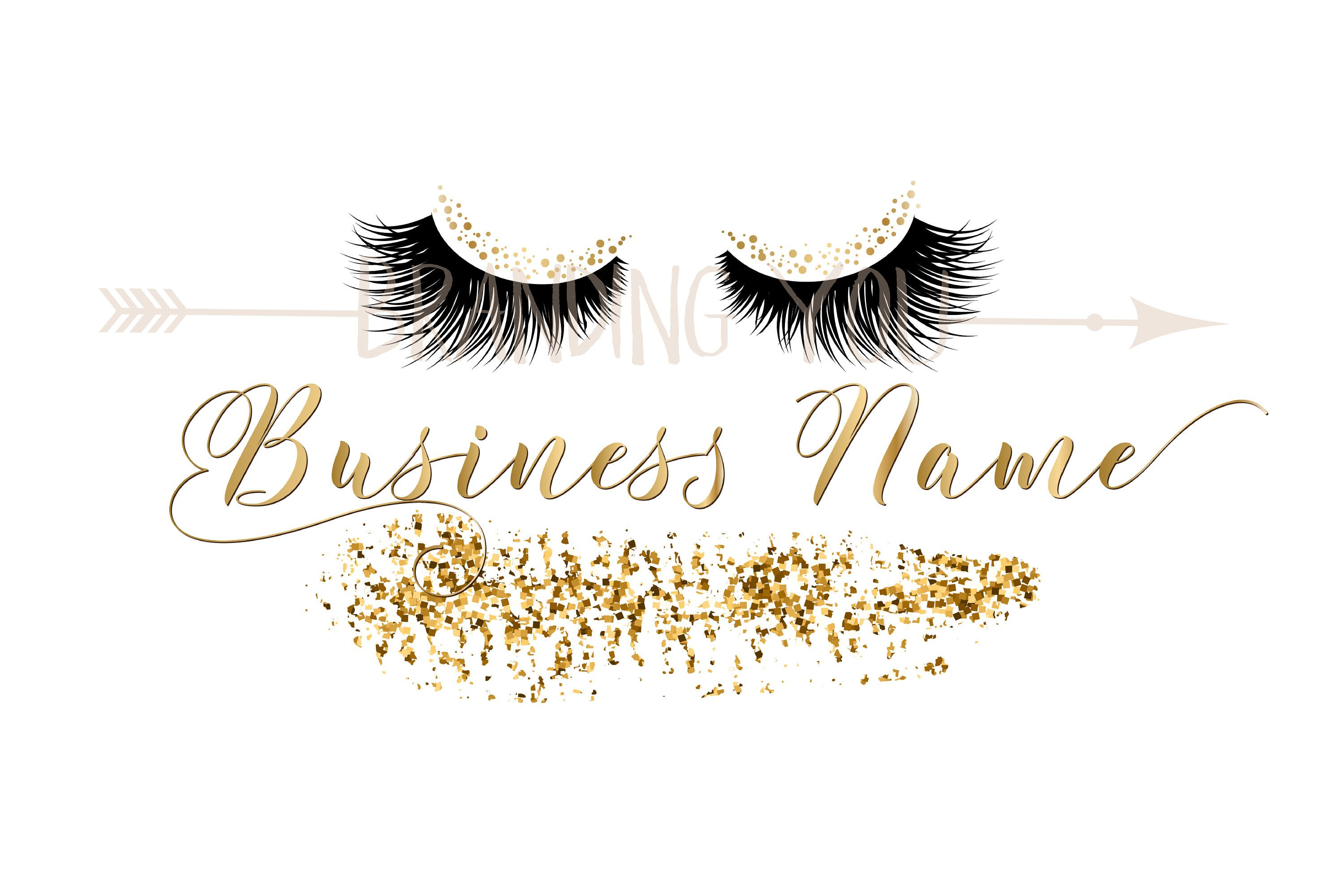 Custom logo, lashes logo, eyelash logo, cosmetics logo, gold